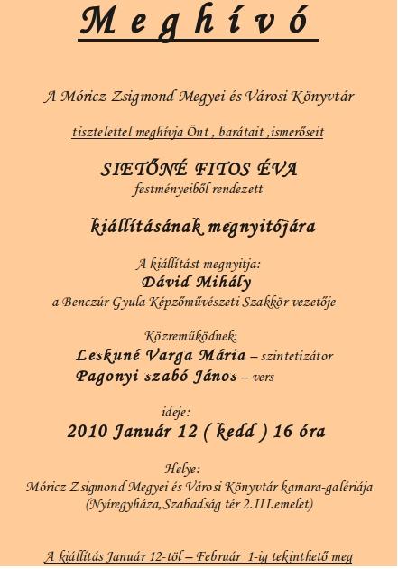 Sietőné Fitos Éva kiállítása a Móricz Zsigmond Könyvtárban