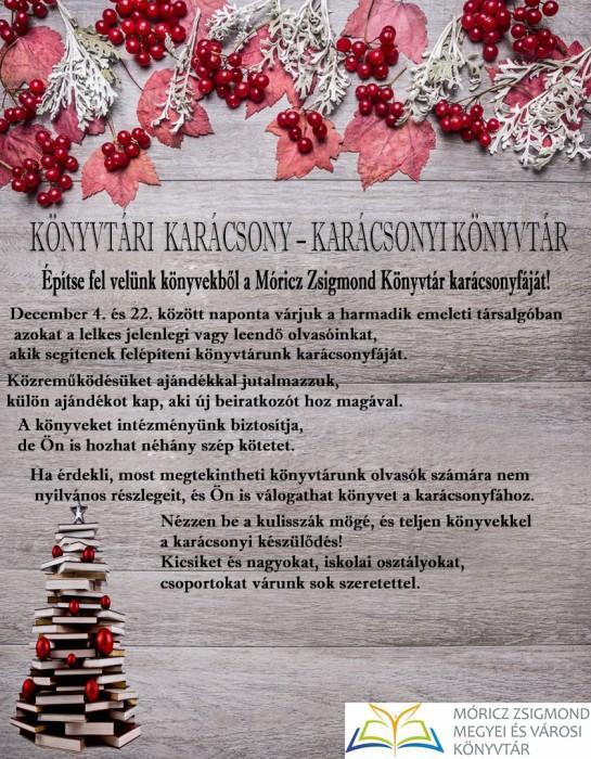 Könyvtári Karácsony - Építse fel velünk könyvekből a Móricz Zsigmond Könyvtár karácsonyfáját!